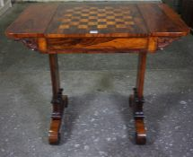 Regency Rosewood and Marquetry Games Table, circa early 19th century, Having a sliding