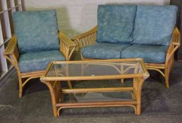 Two Piece Bamboo Conservatory Suite by Angraves, Comprising of a two seater sofa with matching