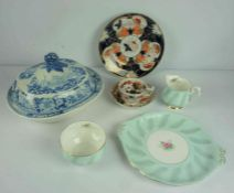 Mixed Lot of China, Pottery and Crystal Wares, to include Victorian tea wares, Copeland Spode items,