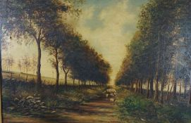 "J.Bingham (19th century) ""Sheep on Country Path"" Oil on Canvas, signed and dated 1908 to lower"