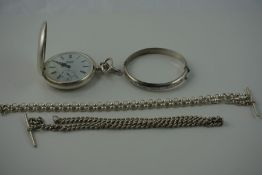 Sterling Silver Full Hunter Pocket Watch by Sewills of Liverpool, Swiss made, stamped 925, in a