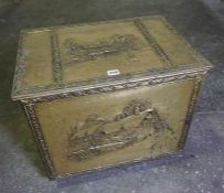 Brass Log Bin, Enclosing assorted fire irons etc