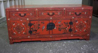 Chinese Red Lacquered Cupboard, circa early 20th century, Having three small drawers above two