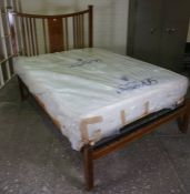 Inlaid Mahogany Double Bed, circa early 20th century, with later pine base and brand new mattress,