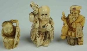 Three Japanese / Oriental Ivory Netsukes, pre 1947, Modelled as an immortal, buddha, and child