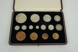George VI 1937 Specimen Coin Set, Crown through to Farthing, in original tooled red leather case