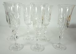 Set of Six Fine Cut Lead Crystal Pinwheel Glasses by Bohemia of Czechoslovakia, from the Symphony