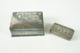 White Metal Snuff Box, Decorated with a cast hunting scene, 6cm wide, also with a white metal box,