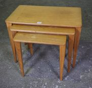 Gordon Russell of Broadway, Nest of Three Retro Teak Tables, stamped to underside, no 188, largest