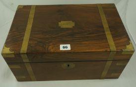 Victorian Walnut Brass Bound Lap Desk, 18cm high, 40cm wide