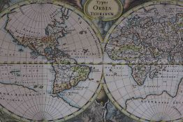 In the Manner of Herman Moll, World map, 16cm x 30cm, later mounted and framed