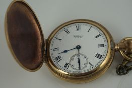 Waltham Rolled Gold Full Hunter Pocket Watch, in a carved wood watch case