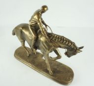 Gilded Horse and Rider Figure Group, inscribed O Tupfon to plinth base, 33cm high