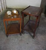 Vintage Oak Trolley, 79cm high, also with a similar table, mantel clock and alarm clock by