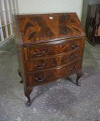 Mahogany Writing Bureau, Having a fall front above three drawers, raised on pad foot, 100cm high,