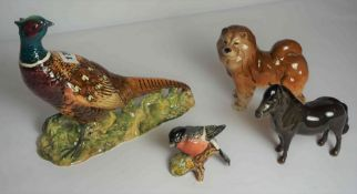Group of Beswick and Similar Animal Figures, to include a pheasant, ginger cat, bullfinch, and