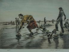 "Henry Wilkinson (1921-2011) ""Curling Competition"" Limited Edition Colour Etching, signed in"