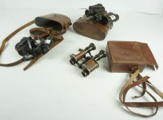 Pair of WWI Military Prismatic No 3 Field Binoculars by Ross of London, no 12977, with arrow