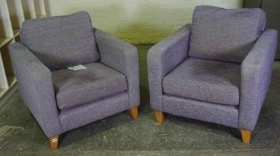 Pair of Schreiber Armchairs, Upholstered in purple fabric, 70cm high, (2)