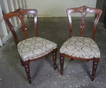 Pair of Victorian Mahogany Dining Chairs, Having a later stuffover seat 87cm high, (2)