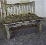 Stained Oak Garden Bench by Iain McGregor Designs of Berwick, Having retailers plaque to side,