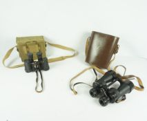 Pair of Military Bino Prism no 2 Binoculars by Kershaw, no 327593, with canvas case, also with a