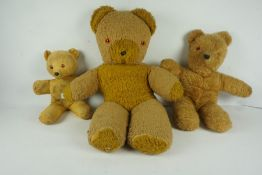 Antique Teddy Bear, 26cm high, also with two larger teddy bears, (3)