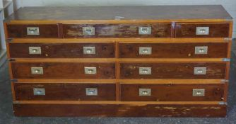 Ships Style Chest of Drawers, Having nine assorted drawers, Decorated with brass handles, 71cm high,
