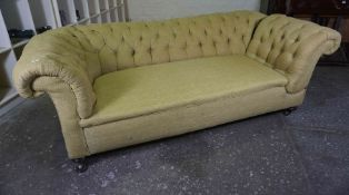 Chesterfield Drop End Sofa, circa late 19th / early 20th century, Upholstered in later green fabric,