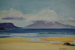 "Ann Armstrong (Scottish) ""Ruhm from Arisaig"" and ""Majorcan Plants"" Watercolour, signed, 11cm x 17cm,"