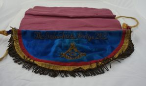 Masonic Apron, for the Galashiels Lodge no 262, in fitted case, also with a medal for the 250th