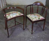 Edwardian Inlaid Mahogany Bow Back Armchair, 76cm high, also with a similar Edwardian armchair, (2)