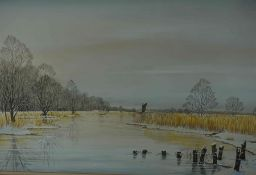 "Jane B Gibson (Scottish) ""Winter in Broadland"" Watercolour, signed lower right, 49cm x 69cm, also"