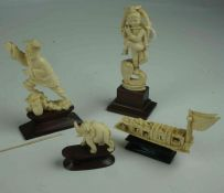Four Oriental Ivory Figures, pre 1947, Modelled as a junk, elephant, male figure and goddess, raised