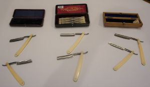 Collection of Razors, circa late 19th / early 20th century, makers include G.Wostenholm & Sons, G.
