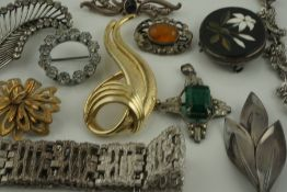 Quantity of Silver and Costume Jewellery, to include brooches, (12)