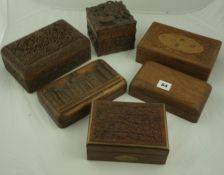 Six Assorted Carved and Hardwood Collectors / Cigar Boxes, to include Burmese examples, (6)