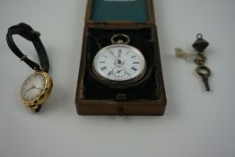 Continental Silver Backed Open Faced Ladies Fob Watch, stamped 800 to inner case, with key, in a