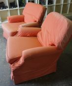 Pair of Fabric Upholstered Armchairs, 75cm high, (2)
