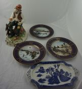 Quantity of Picture Plates, to include examples by Spode and Wedgwood, also with some china tea