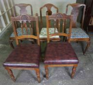 Pair of Oak Dining Chairs, circa early 20th century, also with three assorted splat back chairs, (
