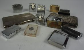 Quantity of Lighters, Approximately 15 in total, also with some metal cigarette cases, (a lot)