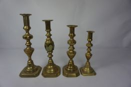 Six Assorted Pairs of Old English Type Brass Candlesticks, (12)