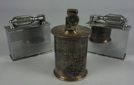 "Two Vintage Table Lighters by McMurdo, Also with ""The Classic"" Patent Table Lighter, engraved to"