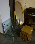 Mixed Lot of Furniture, To include a cheval mirror, modern hallstand etc, (5)