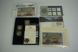 Small Lot of Coins and First Day Covers, To include a Millennium £5 Crown, Dated 1999/2000, two coin