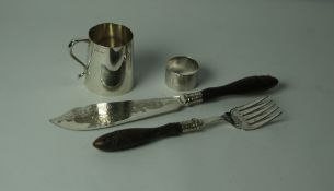 Silver Tankard, Hallmarks for Birmingham 1943-44, engraved monogram to front, 7cm high, also with