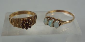 9ct Gold Opal Three Stone Ladies Ring, Stamped 9ct, ring size Q, also with a 9ct gold ruby