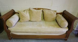 French Style Hall Sleigh Settee, Upholstered in lemon fabric, with cushions and rolled cushions,