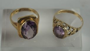 Two 9ct Gold Gem Set Ladies Rings, Amethyst coloured, Stamped 375 to both, gross weight 7.1 grams,